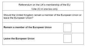REFERENDUM 01 ballot paper